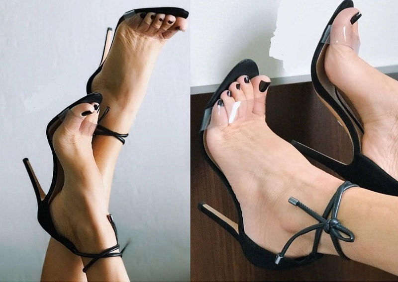 transparent stilettos for black dress