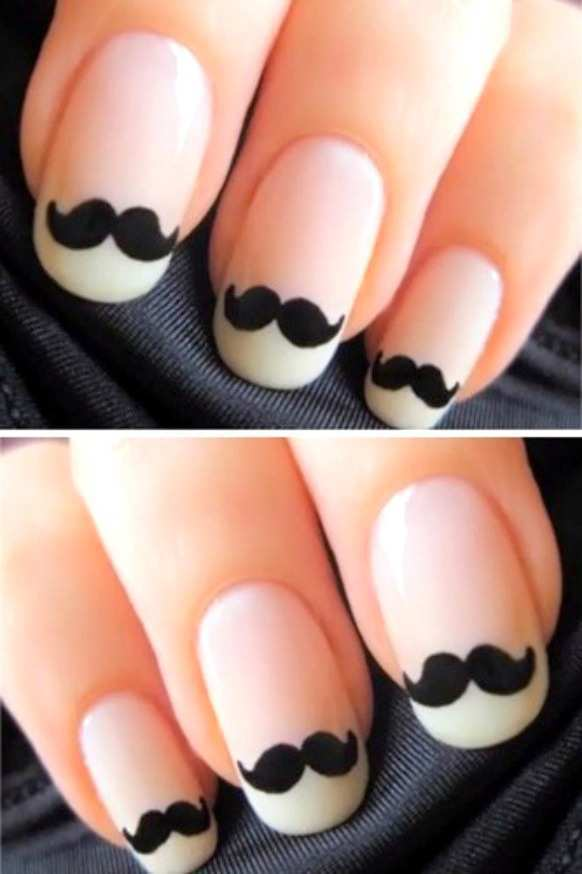black-and-white-moustache-nail-art