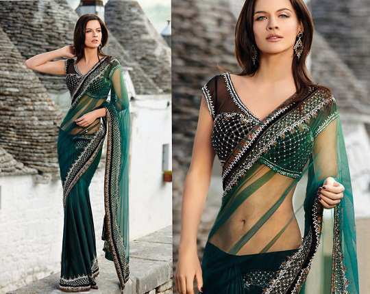 bottle-green-saree