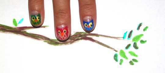 cute-owls-nail-art