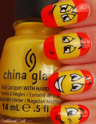 red-yellow-smiley-nail-art