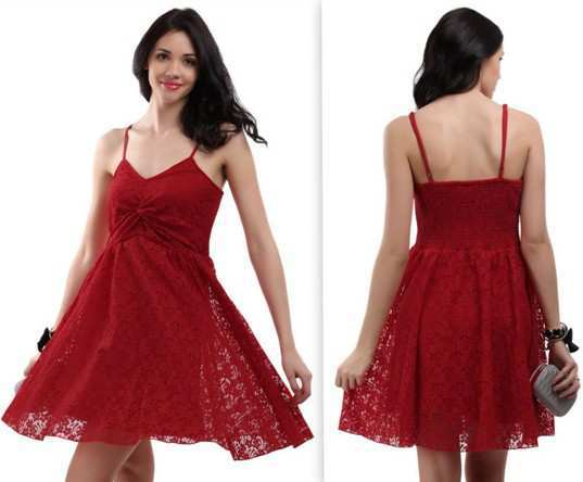 The Vanca Women Red Bale Lace Dress