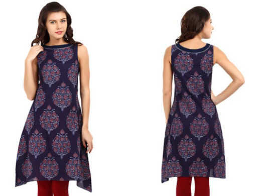Women-Blue-Printed-Kurta