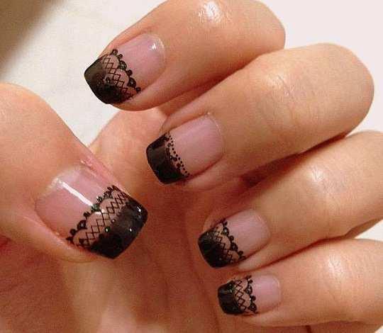 30 astonishingly pretty lace nail art designs black lace nail art prinsesfo Images