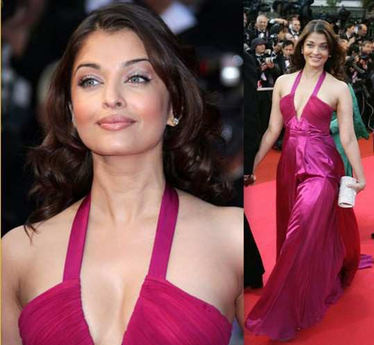 fuchsia gown on Aishwarya