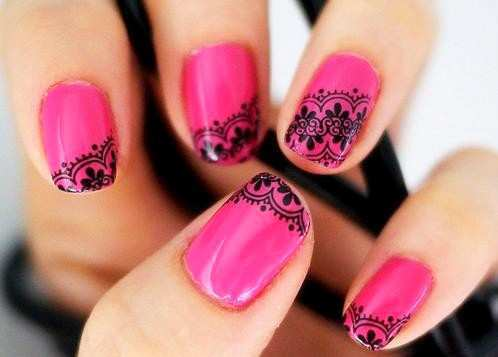 hot-pink-black-lace-nail-art