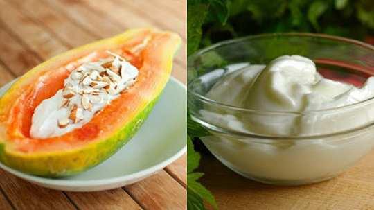 papaya-yogurt-mask-for-split-ends
