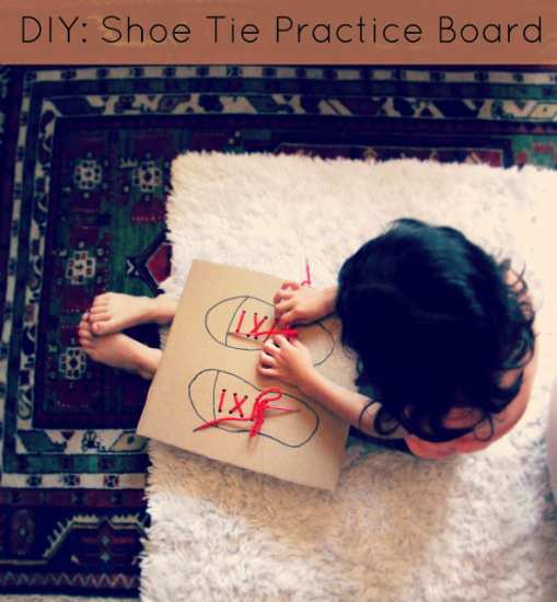 Shoe-Lace-DIY-Craft-with-Cardboard-for-your-Kids