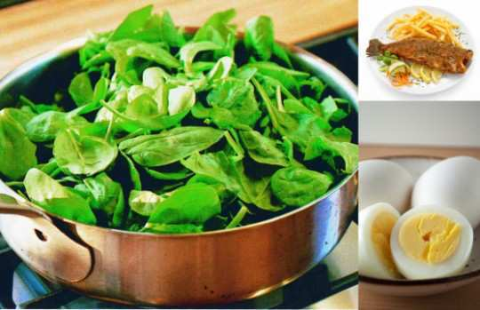 Spinach-fish-egg