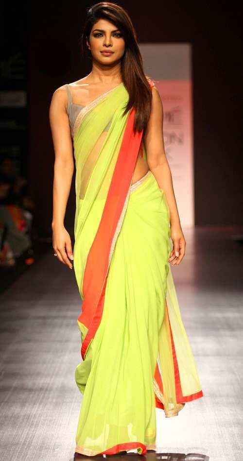 priyanka-chopra-neon-sari