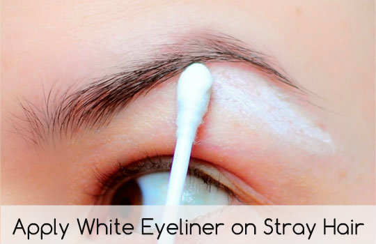 unconventional-makeup-tips-apply--white-eyeliner-on-stray-hairs