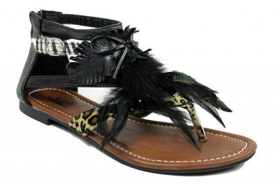 c6599755565 Kali Footwear Women Point Animal Print Feathered Flat Thong Ankle Sandals