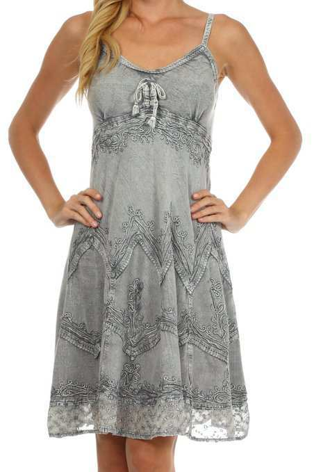 2abd8687c389 Sakkas Stonewashed Rayon Embroidered Adjustable Spaghetti Straps Mid Length  Dress