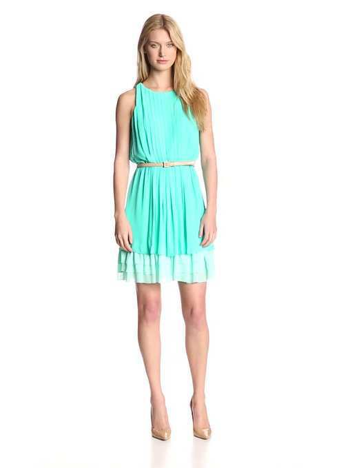 6f88aa25ad5d Jessica Simpson Women's Pleated Sleeveless Dress with Tiered Skirt.  blue-teal-sundress-amazon