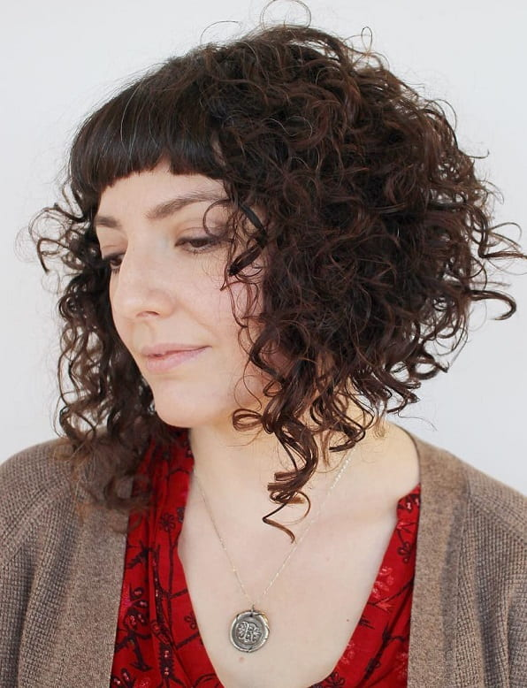 Curly A-line Bob with Straight Baby Bangs