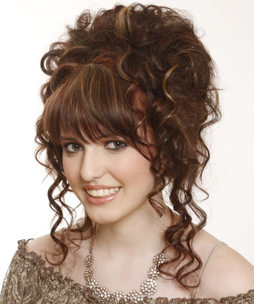 Curly Updo with Straight Bangs