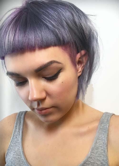 stacked lavender bob with baby bangs