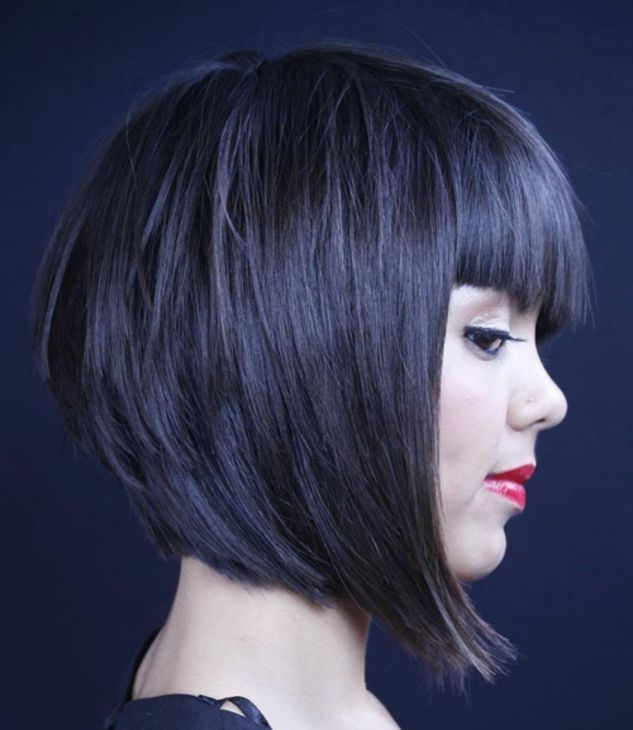 Short Stacked A-line Bob with Straight Bangs