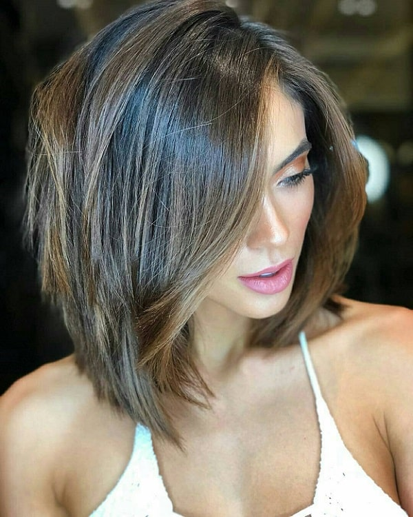 Short Stacked Bob with Long Bangs