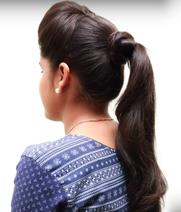 sleek ponytail with puff