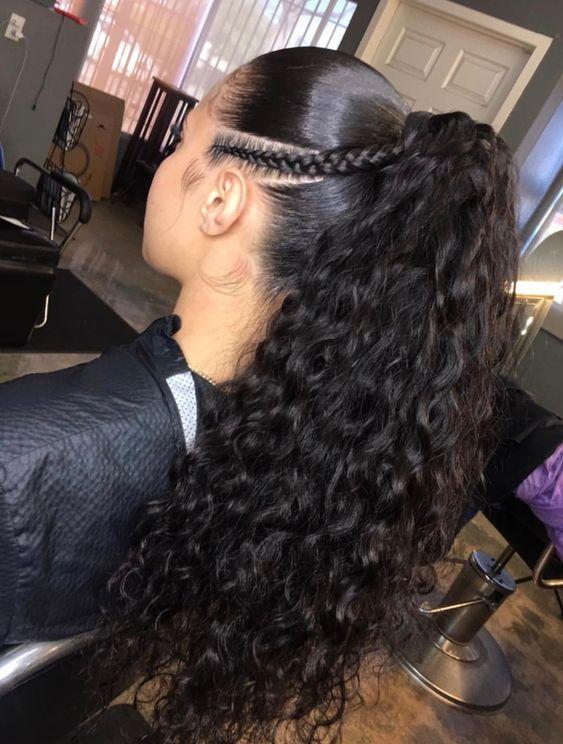 sleek curly ponytail with braid
