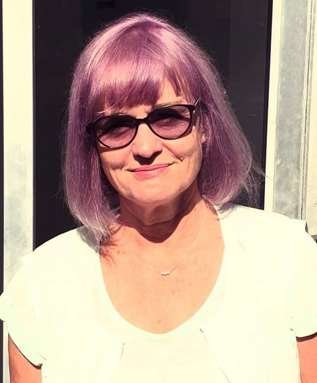 purple bob for fine hair over 50