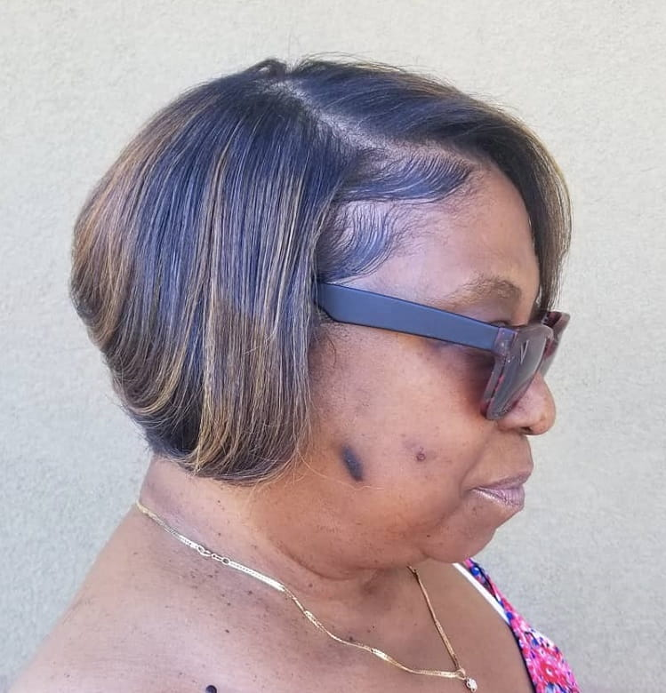 Bob with Highlights for Fine Hair Over 50
