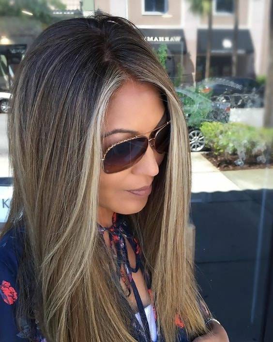 straight hair with blonde face framing highlights