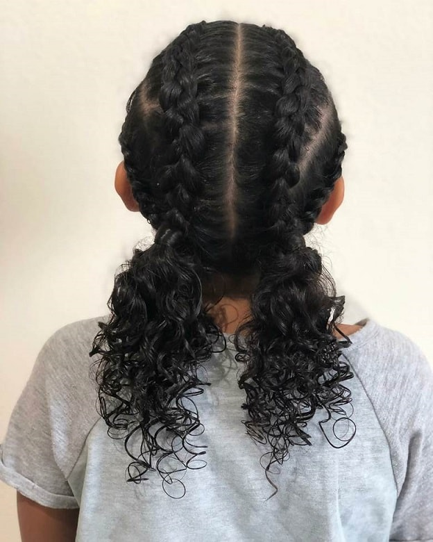 mixed baby girl with dutch braids