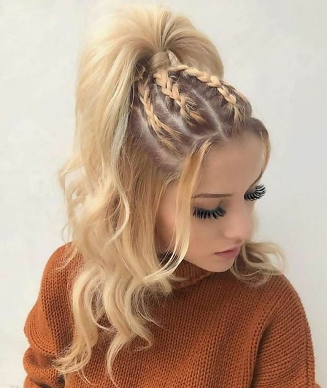 curly half up hair with braids