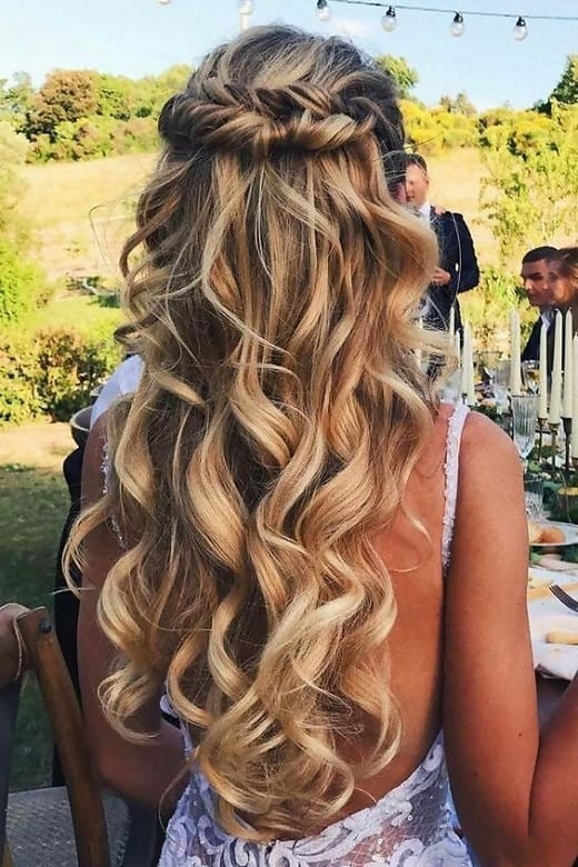 half up half down hairstyles for long curly hair