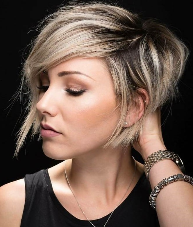 Blonde Layered Inverted Bob with Side-Swept Bangs