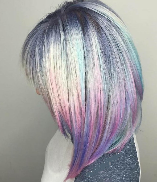 pastel inverted bob with bangs