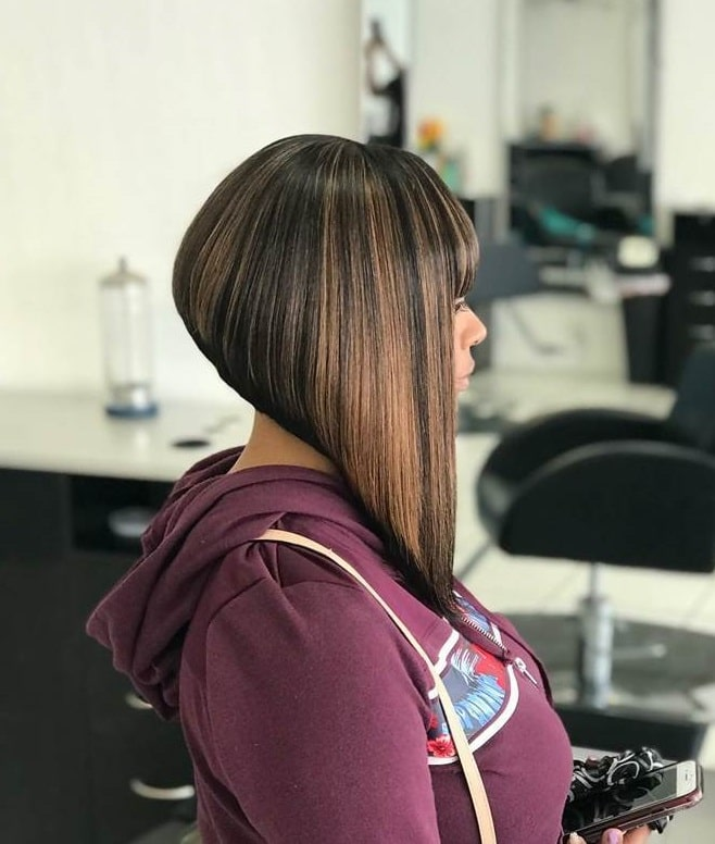 sleek inverted bob with blunt bangs