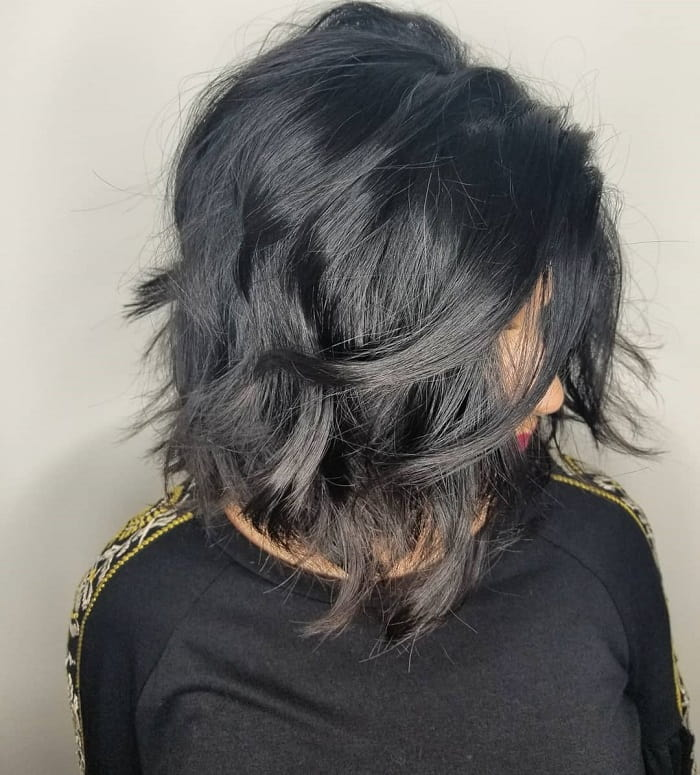 textured medium layered bob
