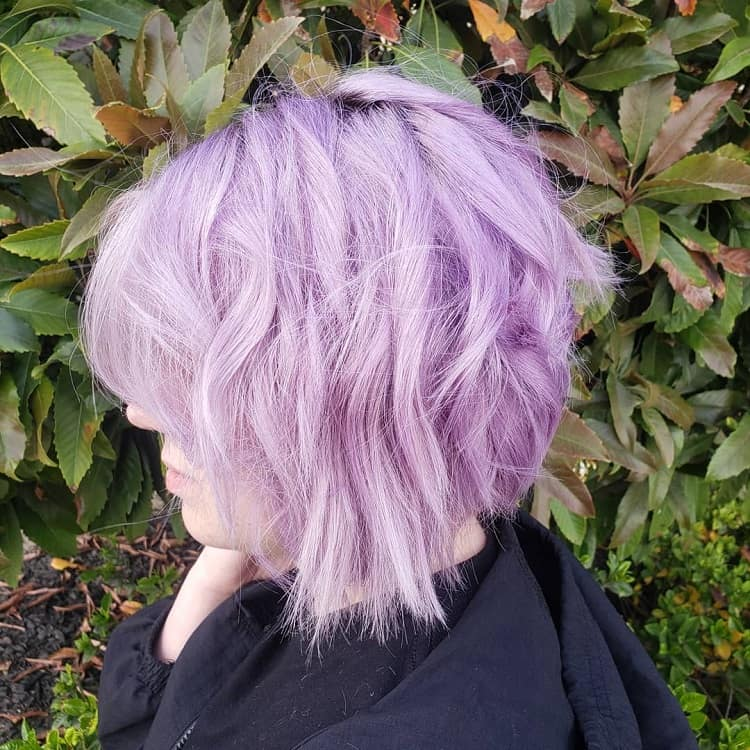 medium lavender layered bob