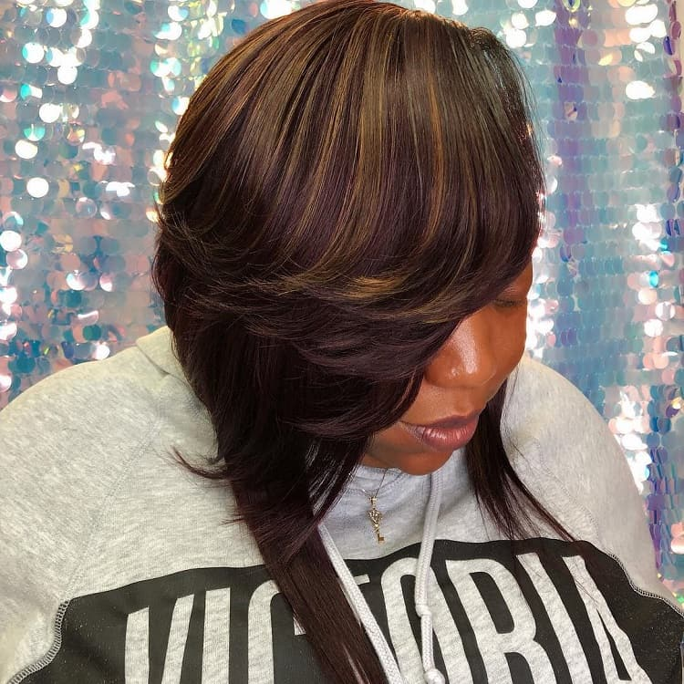 black women with medium layered bob