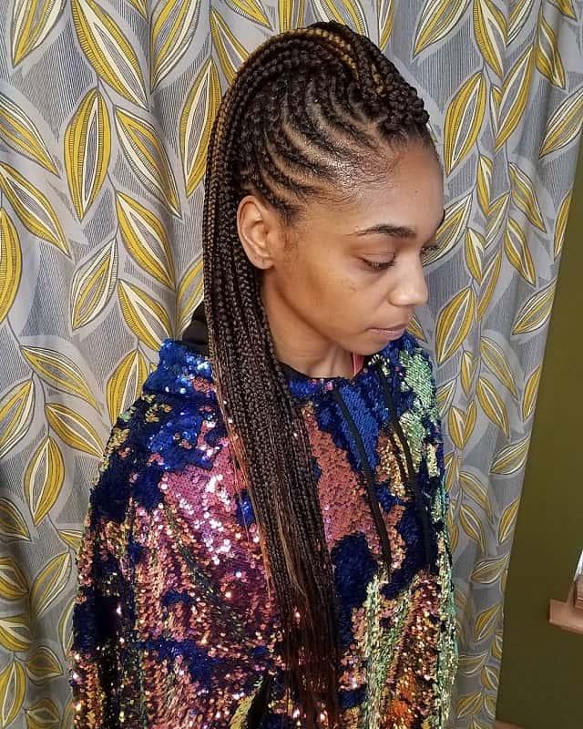 cornrow mohawk for long hair