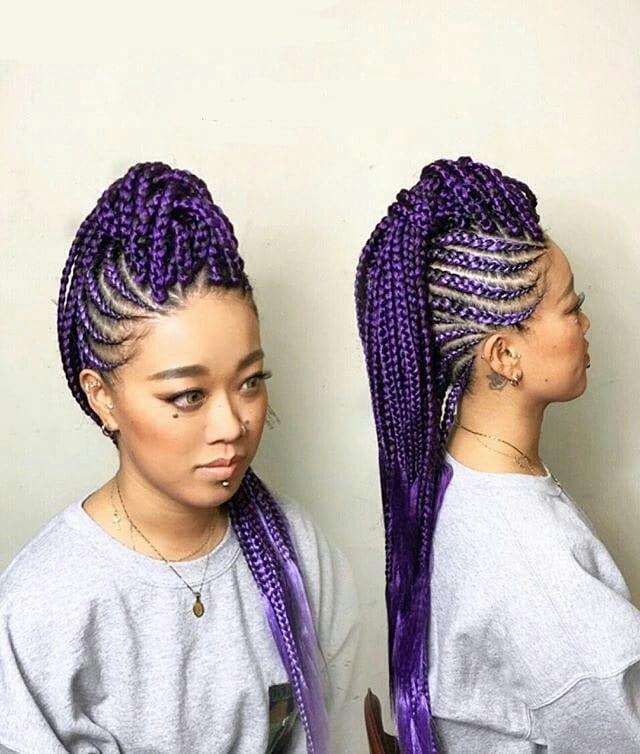 purple cornrow mohawk