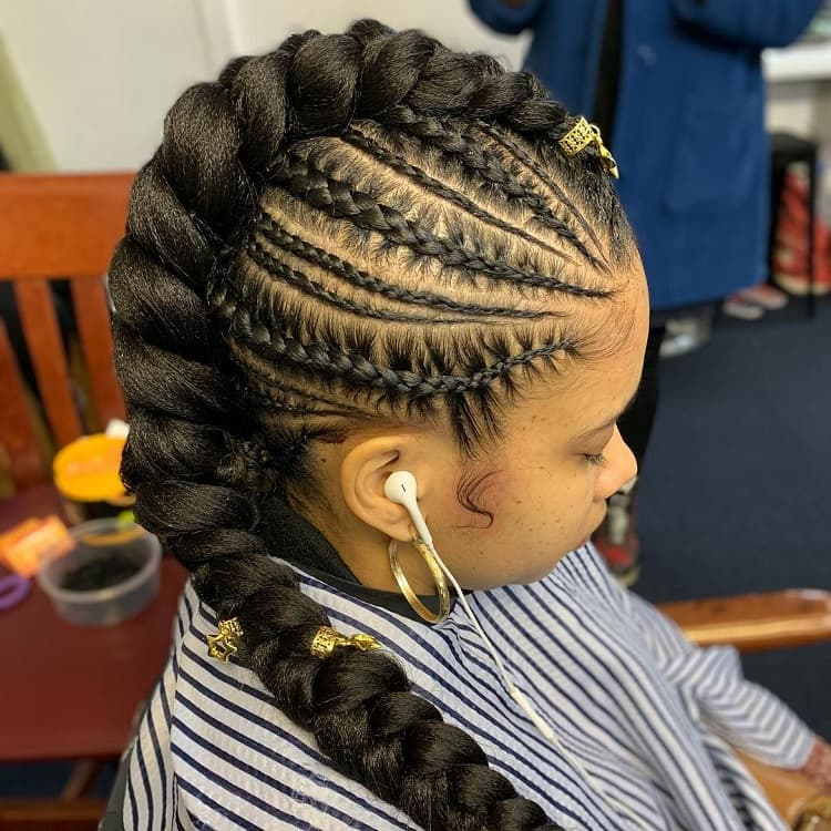 Braided Ponytail with Mohawk Cornrows