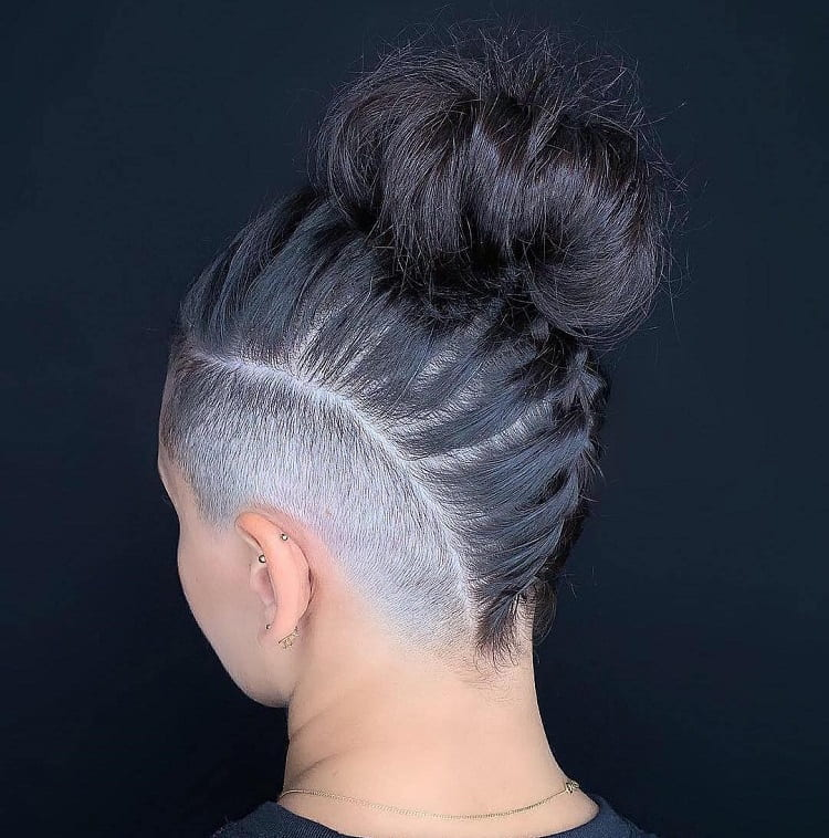 mohawk bun with shaved sides