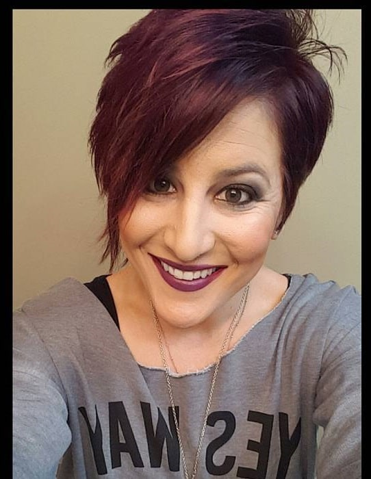 plum ombre pixie cut on black hair