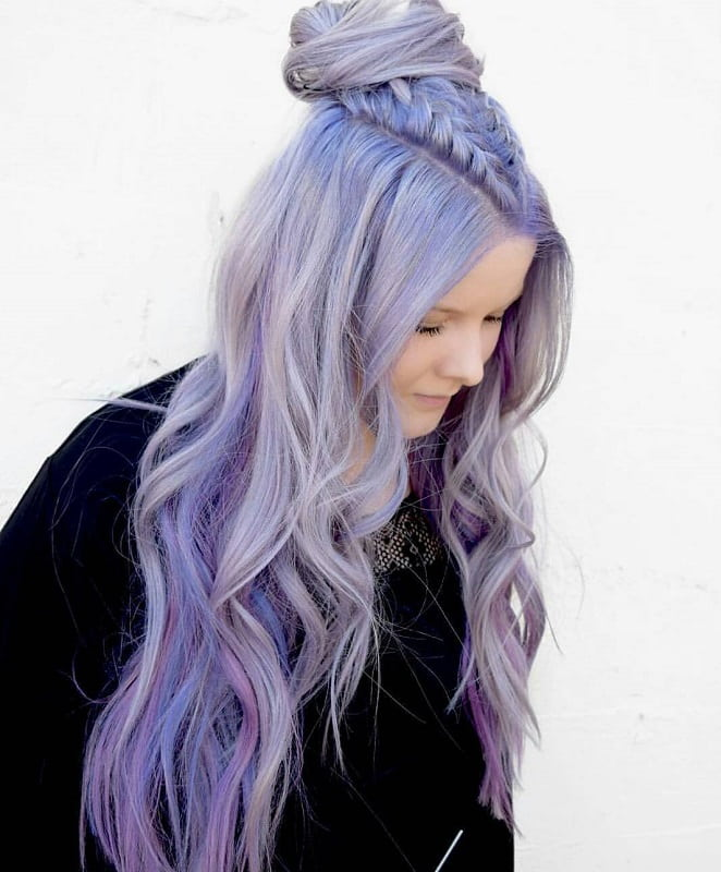 braided half updo with pastel purple hair