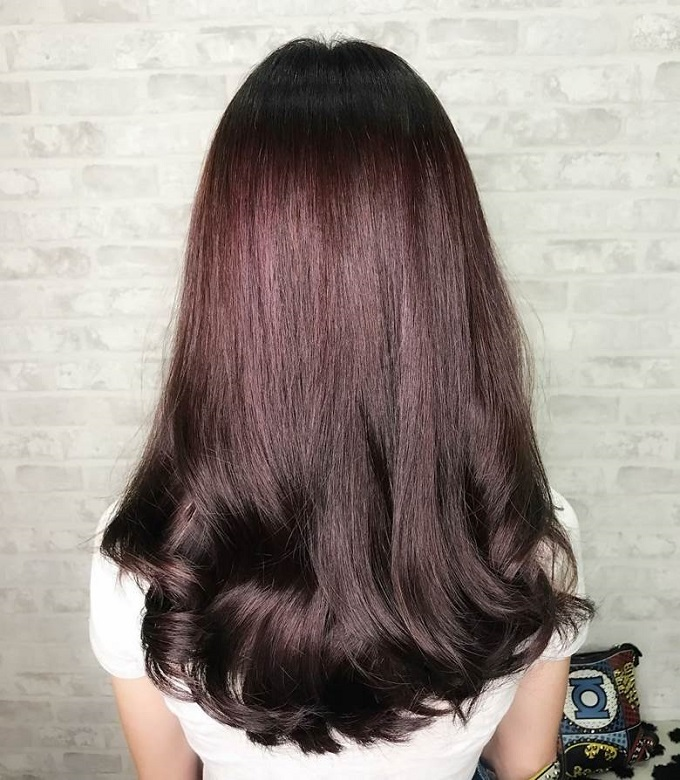 long plum brown hair color