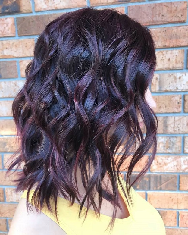 Deep Brown Hair with Plum Highlights