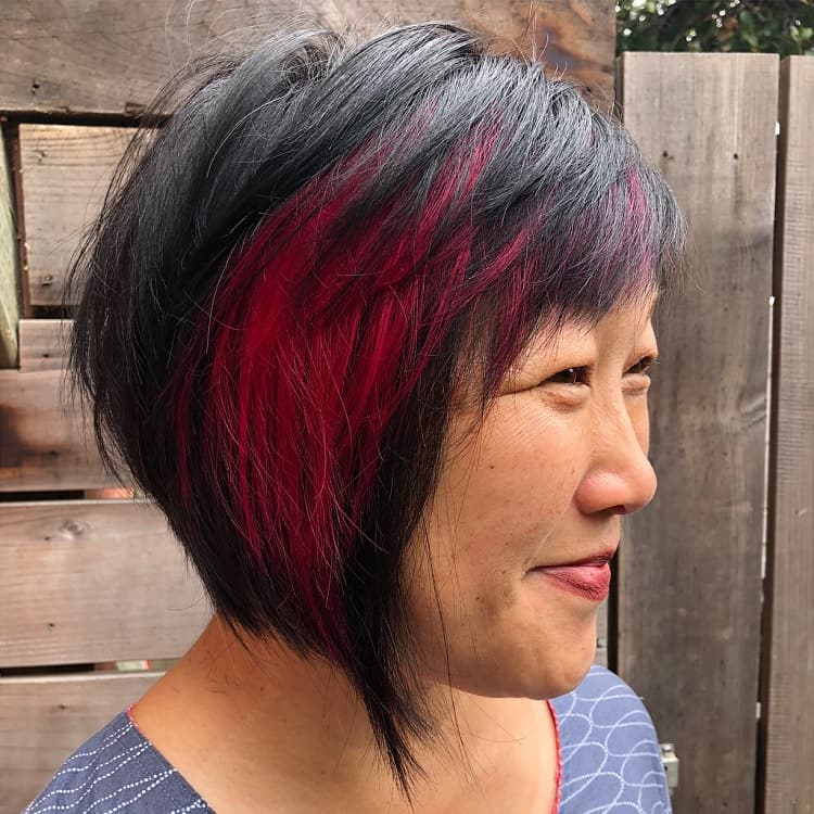 razor bob with red highlights