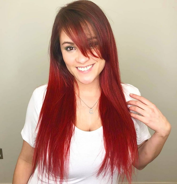 Long Red Hair with Long Side Bangs