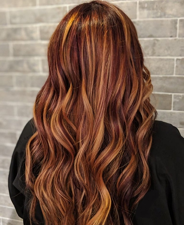 Long Red Balayage Hair with Blonde Highlights