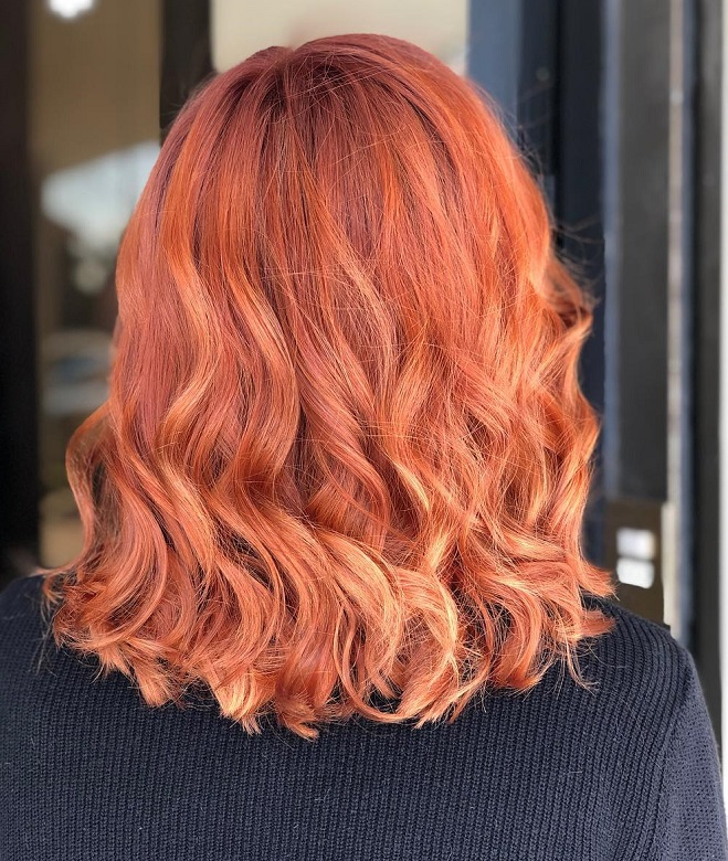 copper red hair with blonde highlights