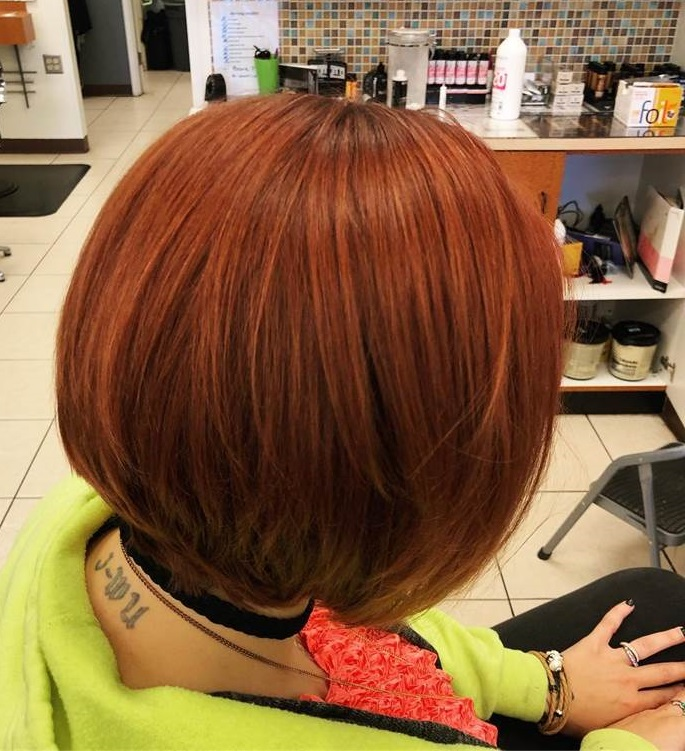Short Red Bob with Soft Blonde Highlights